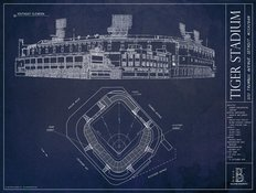 Tiger Stadium Blueprint Mural Wallpaper