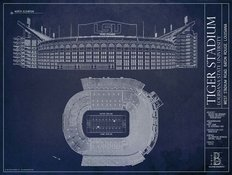Tiger Stadium Blueprint Wall Mural