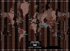 Time Zones Map - Dark Wallpaper Mural