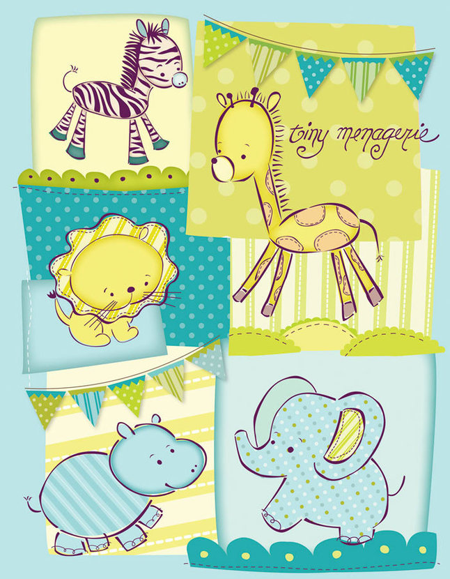 Tiny Menagerie Quilted Collage - Blue Mural Wallpaper
