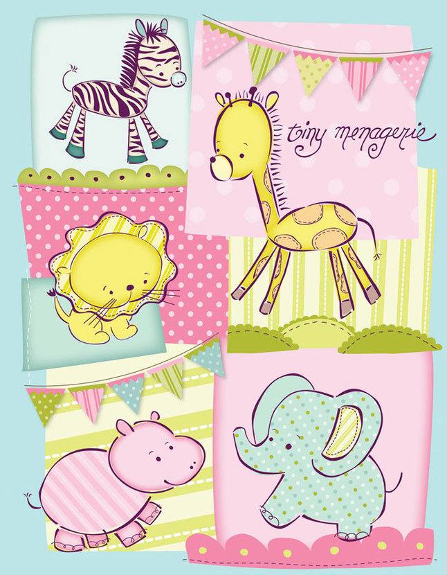 Tiny Menagerie Quilted Collage - Pink Wall Mural