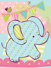Tiny Menagerie - Sweet Baby Elephant Wallpaper Mural