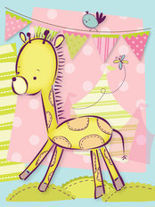 Tiny Menagerie - Sweet Baby Giraffe Wall Mural