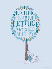 Too Much Lettuce - Peter Rabbit - Blue Wallpaper Mural