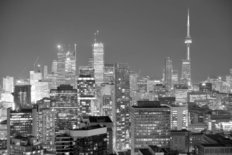 Toronto at Dusk with City Lights Wall Mural
