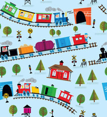 Trains - Blue Wallpaper