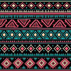 Neon Ethnic Pattern Wallpaper