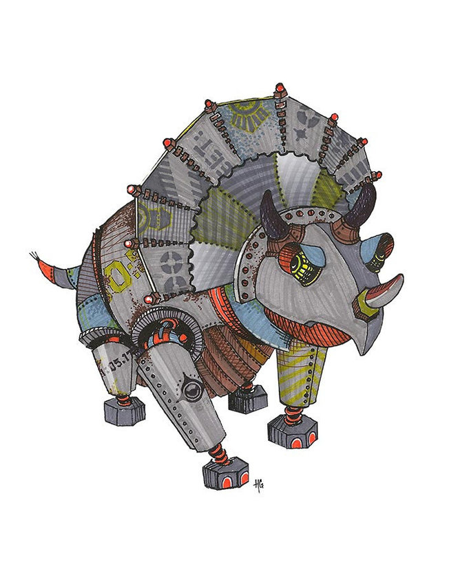 Triceratops Robot Wall Mural