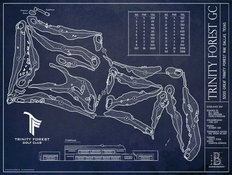 Trinity Forest Golf Course Blueprint Mural Wallpaper
