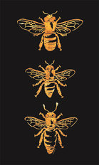 Trio of Bees  - Black Wall Mural