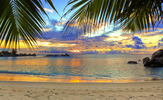 Tropical Beach At Sunset Mural Wallpaper