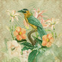 Tropical Bird Green Mural Wallpaper