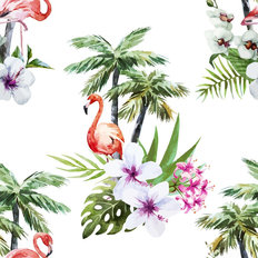 Tropical Flamingo Pattern Wallpaper