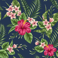 Pink Hibiscus - Navy Wallpaper