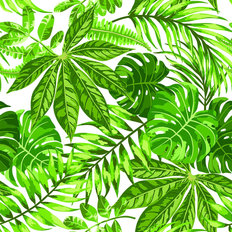 Tropical Green Leaf Pattern Wallpaper