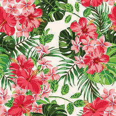 Tropical Leaves And Blooms Wallpaper
