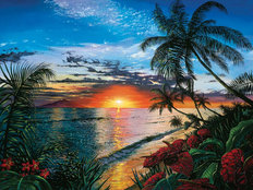 Tropical Sunset Serenade Mural Wallpaper