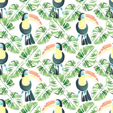 Tropical Toucan And Palms Watercolor Pattern Wallpaper