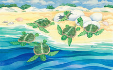 Turtle Nestlings Mural Wallpaper