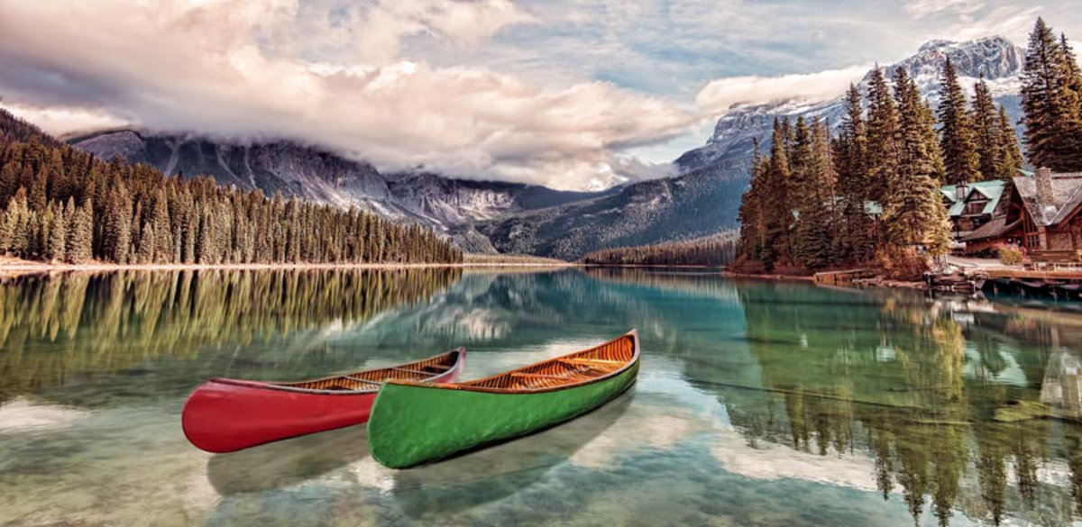 Two Canoes on Emerald Lake 2 Wallpaper Mural