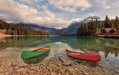 Two Canoes on Emerald Lake Wall Mural