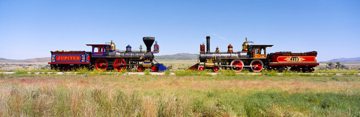 Two Steam Engines On A Train Track Wall Mural