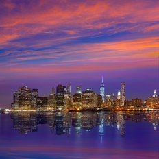 Ultraviolet Sunset Over New York Wallpaper Mural