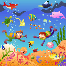 Under The Sea Cartoon Wallpaper Mural