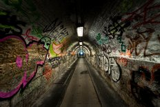 Underground Tunnel With Graffiti Wall Mural
