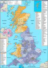 United Kingdom 2 Map Wallpaper Mural
