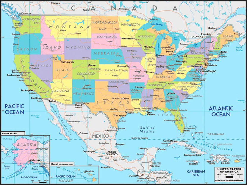 United States Map 2 Wall Mural