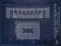 Allen Fieldhouse - University Of Kansas Blueprint Wall Mural