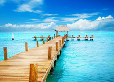 Tropical Ocean Pier Mural Wallpaper
