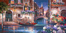 Venice Canals at Night Mural Wallpaper