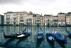 Gondolas In Blue Mural Wallpaper