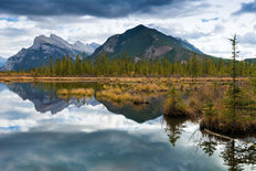 Vermilion Lakes, Mount Rundle, Sulfer Mountain Wall Mural