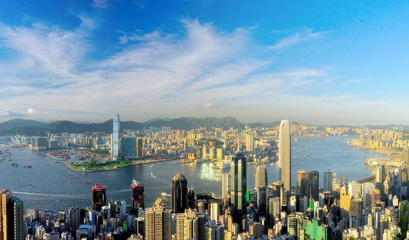 Victoria Habor in Hong Kong on a beautiful sunny day.
