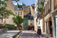 Cobblestone Street In Paris Mural Wallpaper