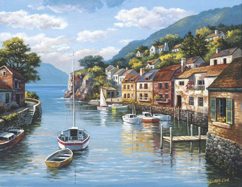 Village On The Water Mural Wallpaper