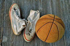 Vintage Basketball And Shoes Wall Mural