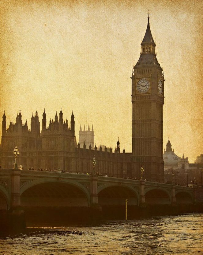 Vintage Big Ben infamous London landmark with an antiquated look