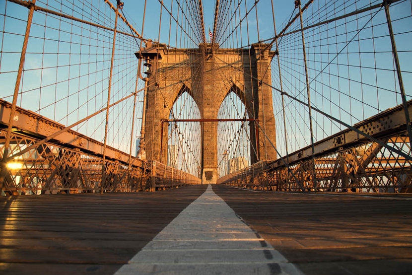 Vintage Brooklyn Bridge at Sunrise Mural Wallpaper