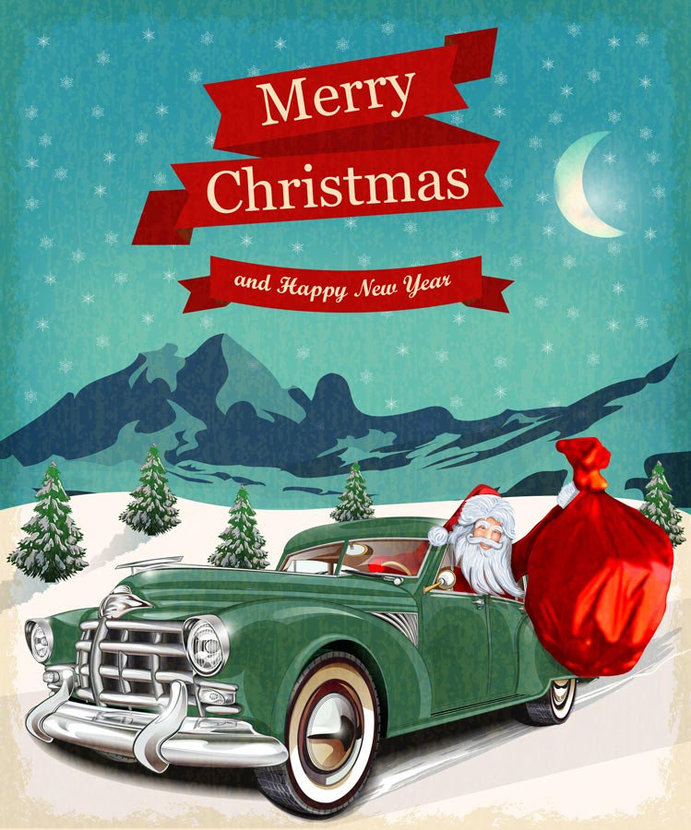 Vintage Christmas Greeting Santa Clause drives up in a classic emerald green automobile