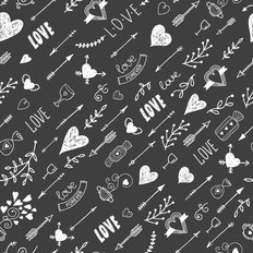 Vintage Love Pattern Wallpaper