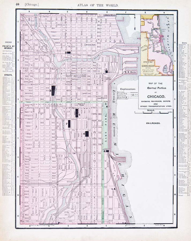 Scaled Vintage Map Of Chicago Circa 1900