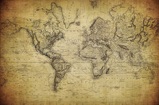 Vintage World Map 1814 Mural Wallpaper