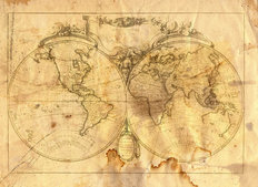 Vintage Map Of The World Wallpaper Mural