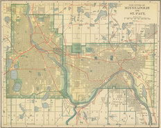 Vintage Minneapolis St. Paul Map Wallpaper Mural