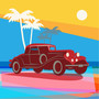 Retro Beach Car Wall Mural