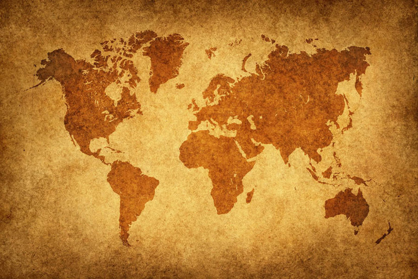 Vintage Style World Map Wall Mural